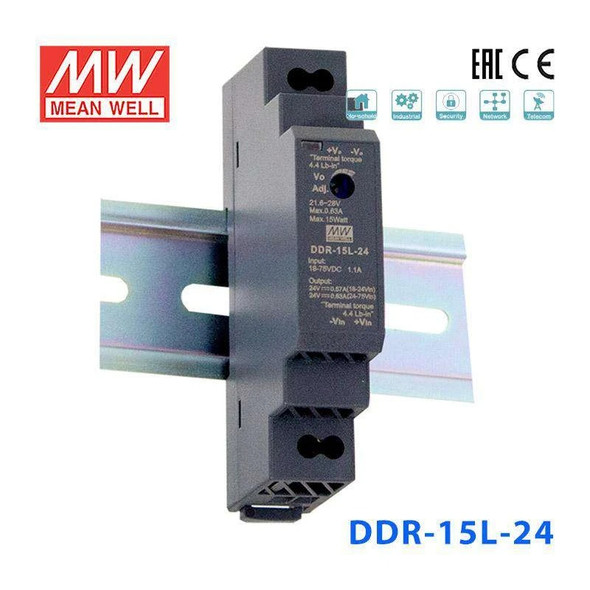 Meanwell DDR-15L-24 DC-DC Converter - 15W - 18~75V in 24V out
