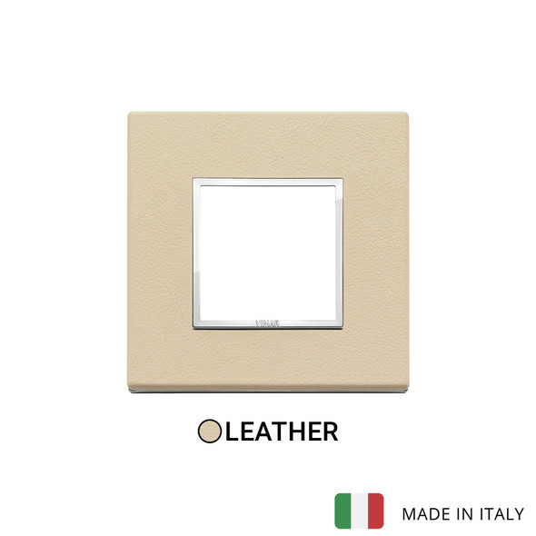 Vimar Eikon Evo Plate 2M Leather Cream - Square