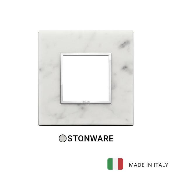 Vimar Eikon Evo Plate 2M Stone Carrara White - Square