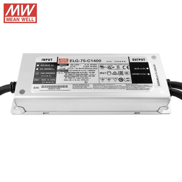 Mean Well ELG-75-C1400B-3Y AC-DC Single output LED Driver Constant Current Mode with PFC