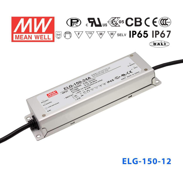 Mean Well ELG-150-12-3Y AC-DC Single output LED Driver Mix Mode (CV+CC) with PFC