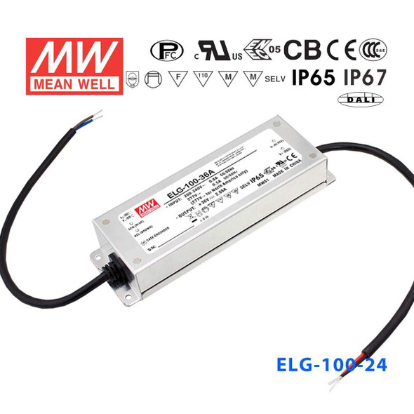 Mean Well ELG-100-24-3Y AC-DC Single output LED Driver Mix Mode (CV+CC) with PFC