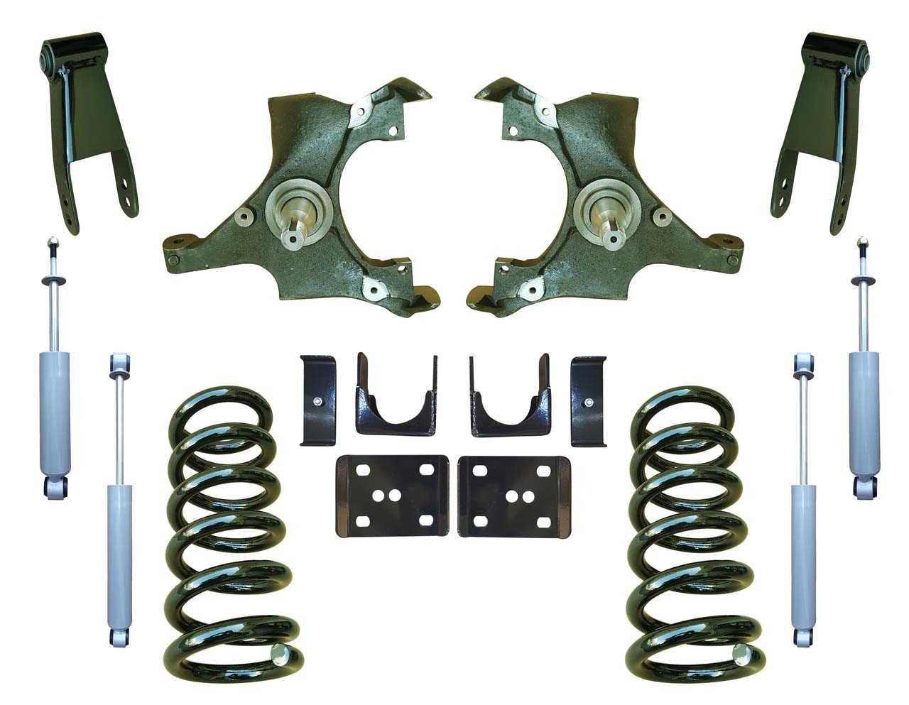 4/7 Drop Spindle Lowering Kit and Drop Shocks for 88-91 C1500 Std Cab