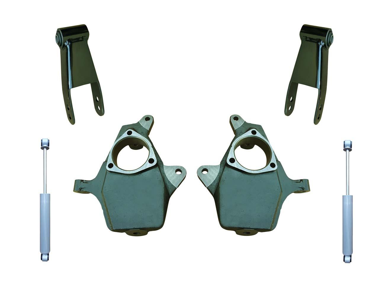 """2014+ Silverado / Sierra 1500 2"""" Drop Spindle Lowering Kit with Shocks"""