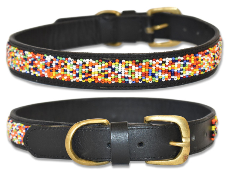 """Hundreds and Thousands"" Handmade Beaded Leather Dog Collar"