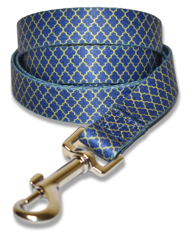 Blue and Gold Art Deco Dog Lead