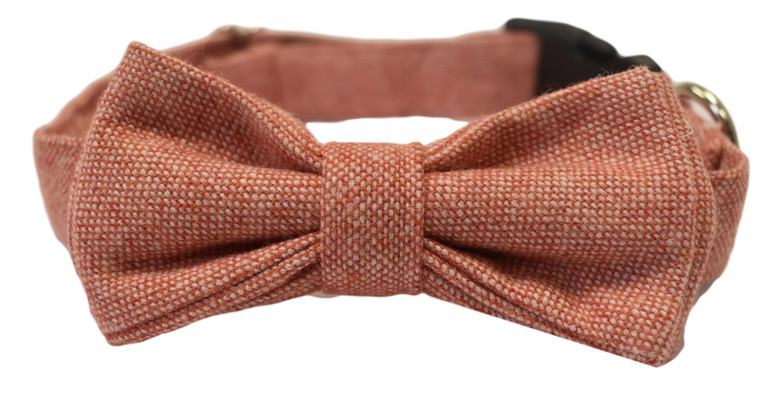 Luxury Rose Pink Wool Blend Handmade Dog Bow Tie Collar
