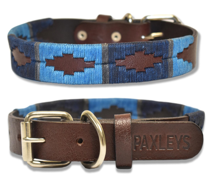 Luxury Hand Woven Blue Polo Leather Dog Collar