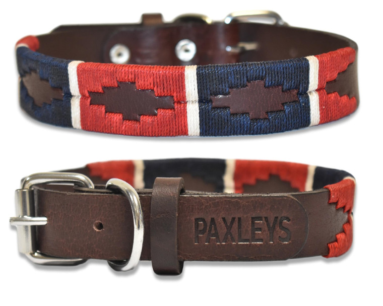Luxury Hand Woven Blue and Red Polo Leather Dog Collar