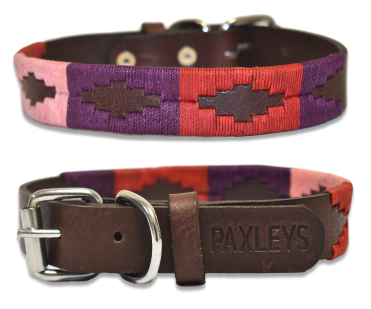 Luxury Hand Woven Pink and Red Polo Leather Dog Collar