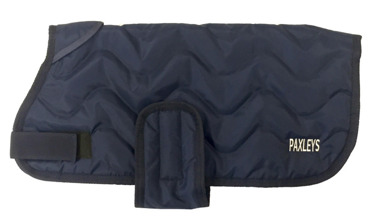 Paxleys Luxury Zigzag Navy Quilted Dog Coat