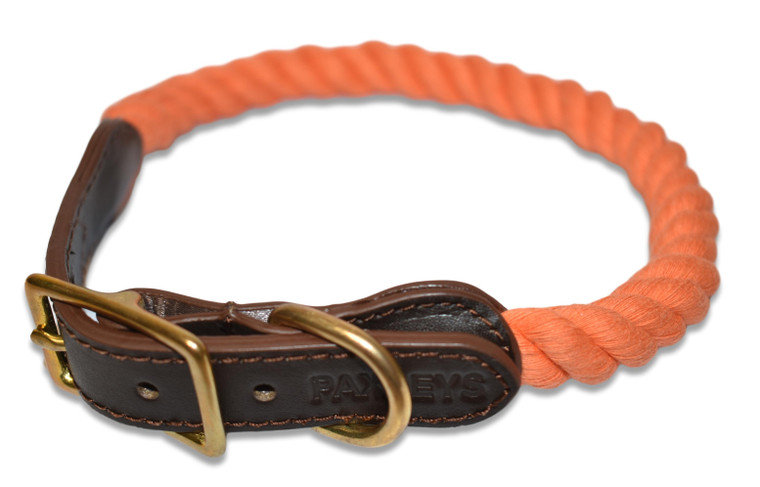 Paxleys Luxury Orange Rope and Leather Dog Collar
