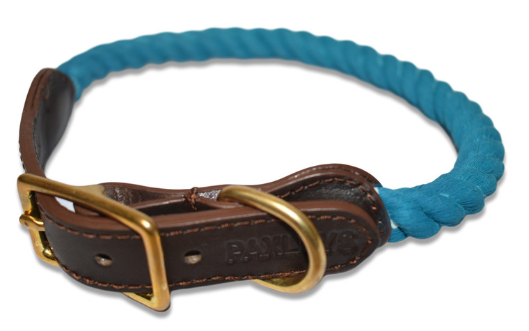 Paxleys Luxury Teal Rope and Leather Dog Collar