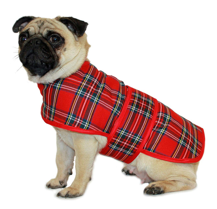 Luxury Red Plaid Tartan Dog Jacket Coat