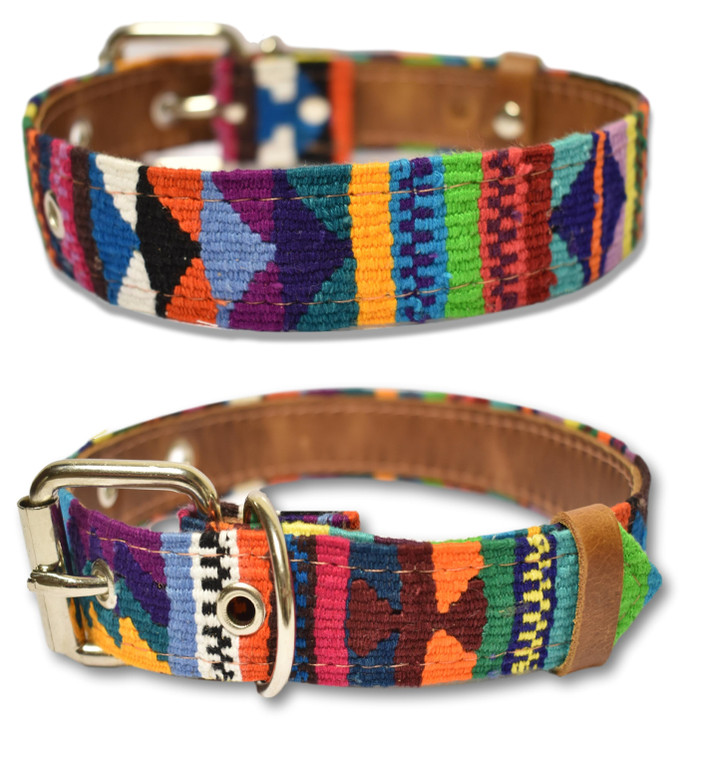 Paxleys South American Aztec Modello Leather Puppy Dog Collar