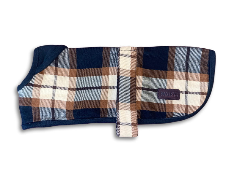 Paxleys Blue Brown Tartan Luxury Dog Coat