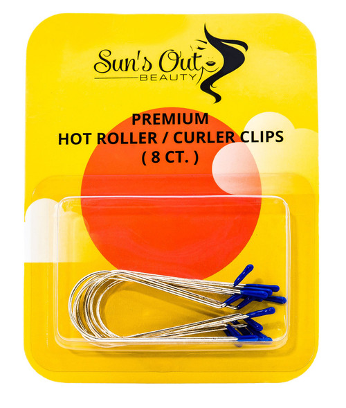 "Premium Replacement Hot Roller Clips / Curler Clips - 1"" Blue Tips (8 count)"