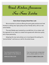 Primal Kitchen Announces New Name Zatoba