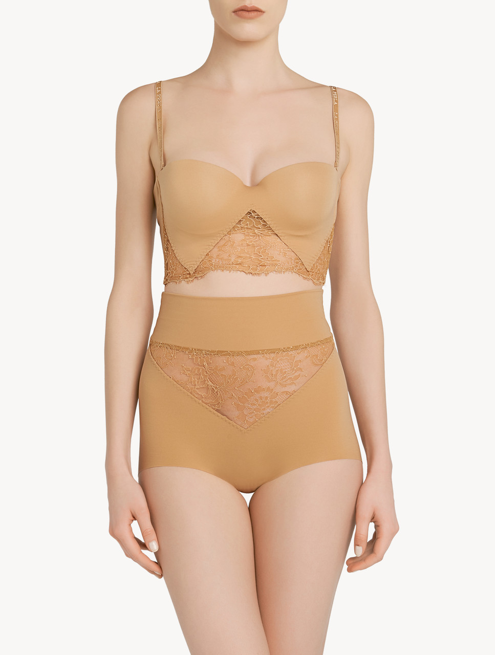Lace bra and tanga set in powder pink colored Chantilly lace