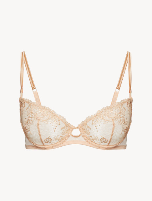 Balconette Bra in pink embroidered tulle