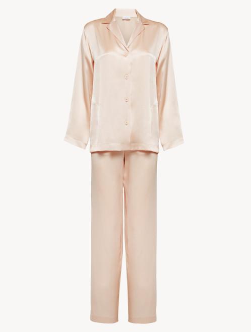 Pyjamas in blush pink silk