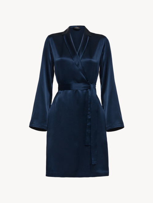 Short robe in navy blue silk