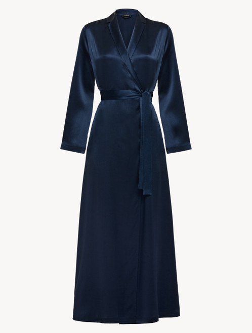 Long robe in navy blue silk