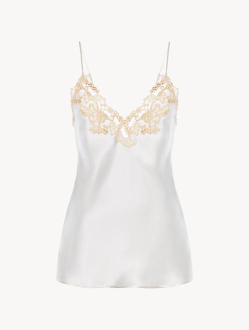 White silk satin camisole with frastaglio