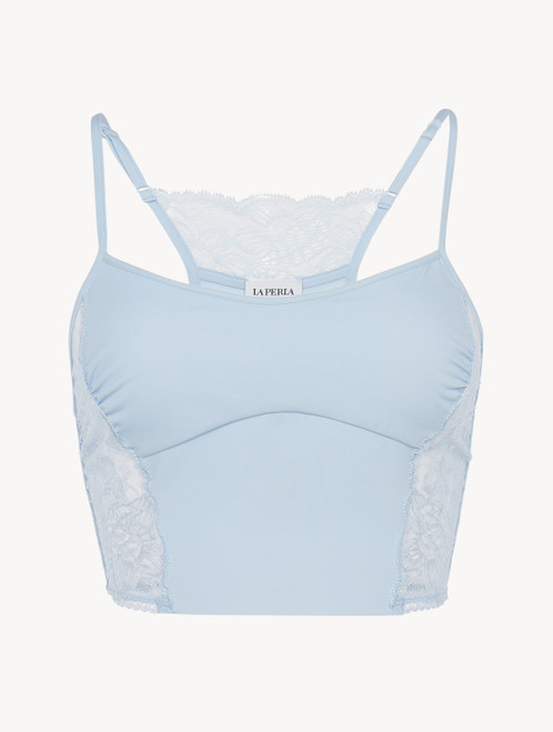 Bralette in blue Lycra with Leavers lace