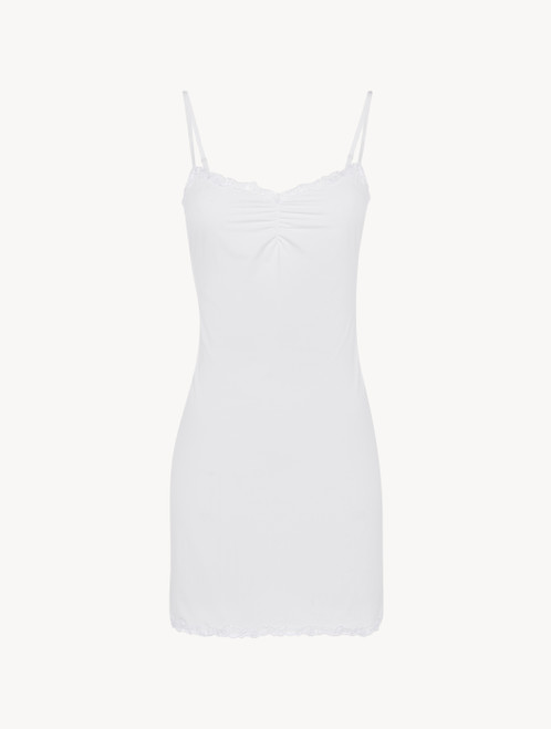 Slip dress in white Lycra with embroidered tulle