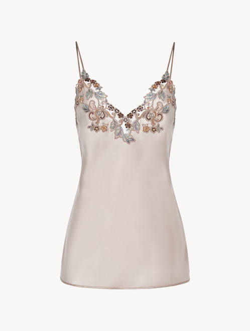 Camisole in blush pink silk with embroidered tulle