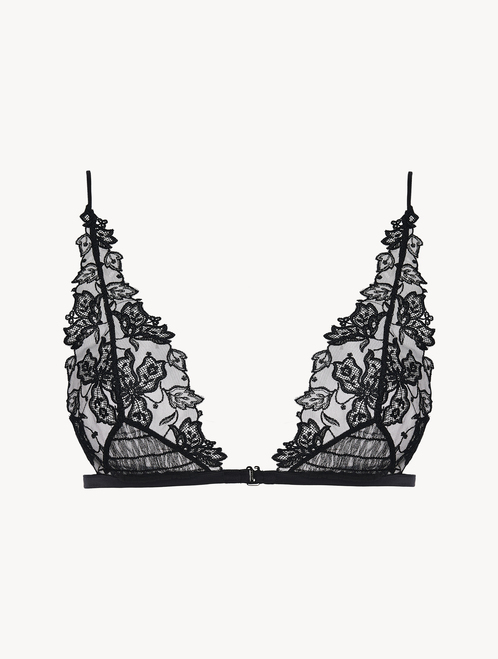 Black Triangle Bra with embroidered tulle