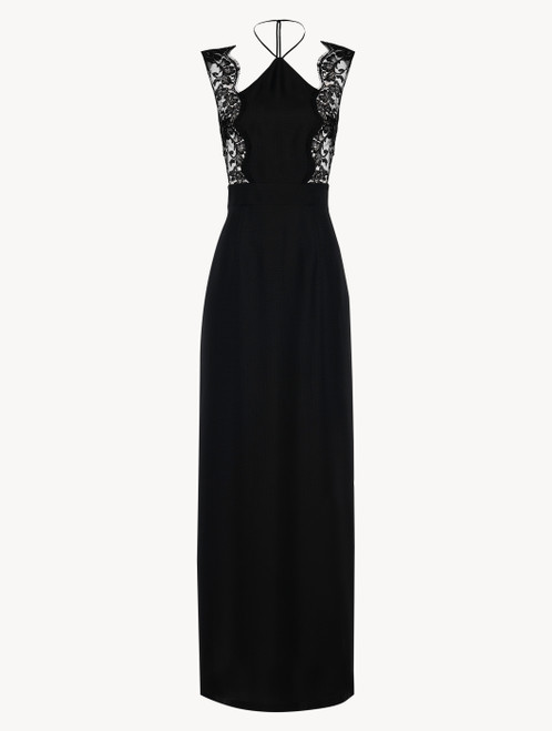 Halterneck nightgown in black silk with Leavers lace