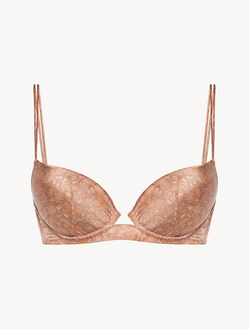 Push-up Bra in pink silk satin with Leavers lace