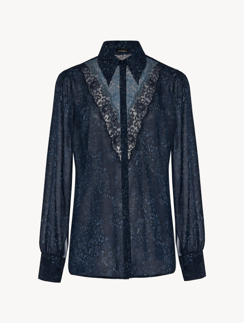Shirt in blue silk georgette with Leavers lace