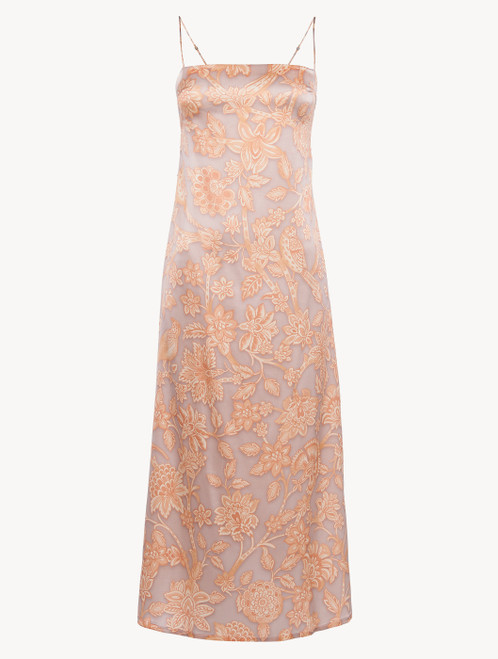 Nightdress in pink silk satin with Leavers lace