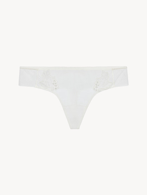 Thong in sheer off-white embroidered tulle