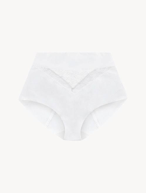 White Lycra control fit high-waist briefs with Chantilly lace