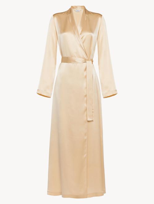 Silk long robe in beige
