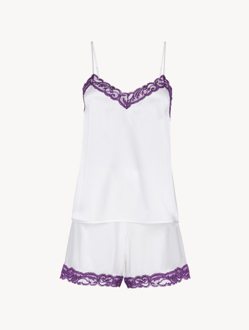 Short pyjamas in off-white silk stretch with lace