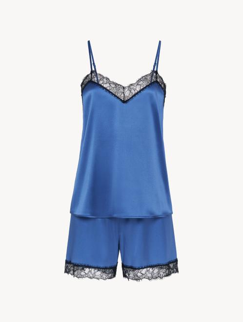 Short pyjamas in dark blue silk stretch with lace