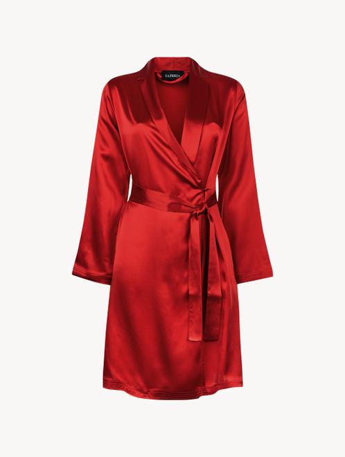 Carmine silk short robe