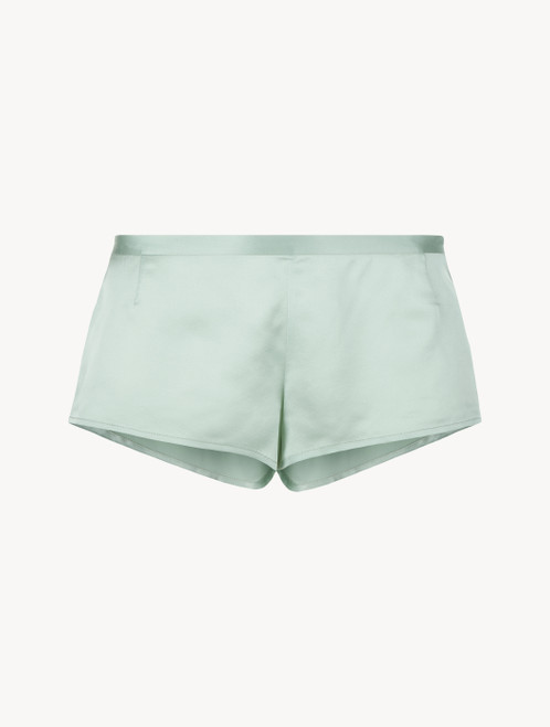 Mint green silk sleep shorts