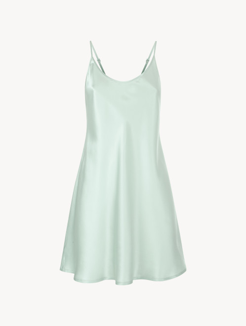 Mint green silk short slip