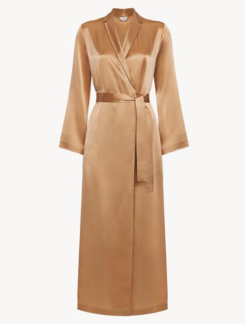 Caramel silk long robe