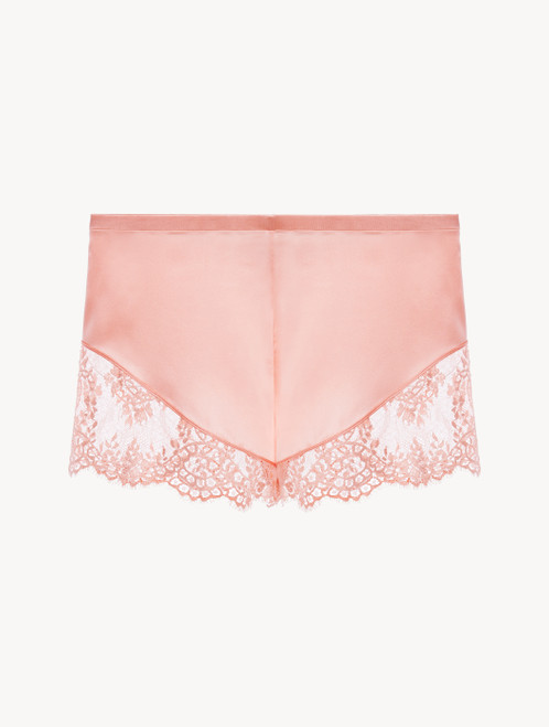 Pink silk pyjama shorts with Leavers lace trim