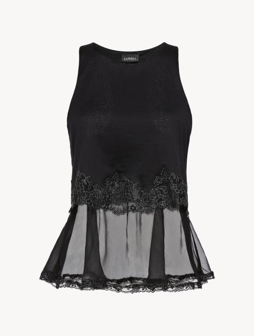 Black cotton and chiffon top