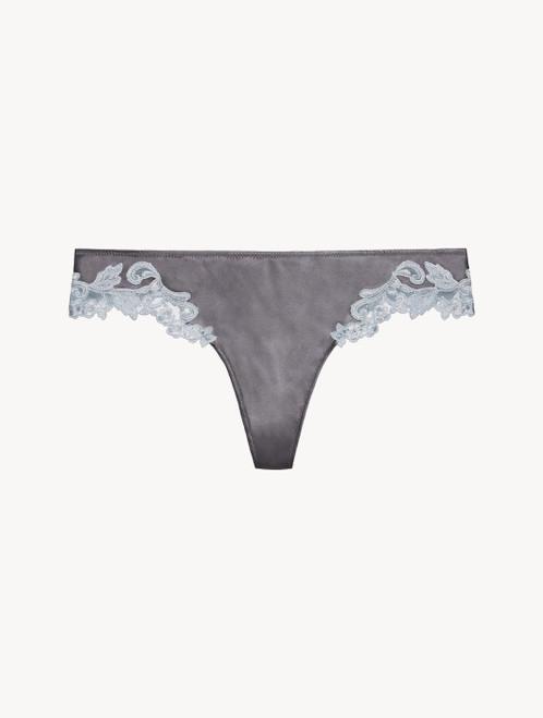 Grey silk thong with lurex frastaglio