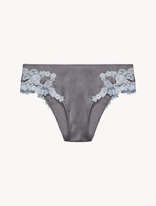 Grey silk medium briefs with lurex frastaglio