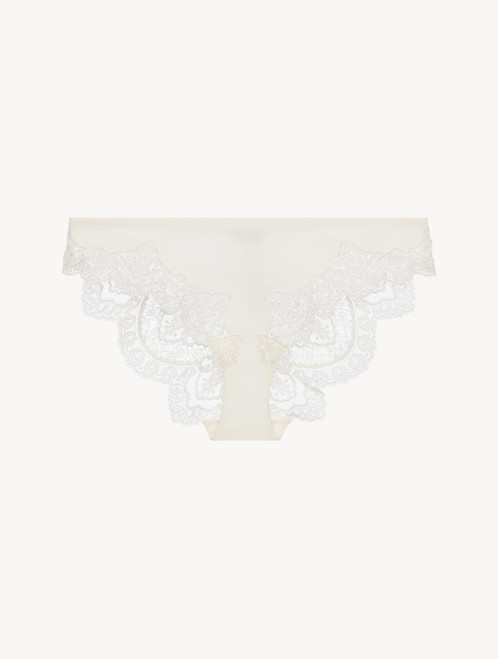 Off-white matt Lycraembroidered tulle medium brief